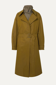 LOW CLASSIC Belted layered cotton-blend canvas and shell trench coat