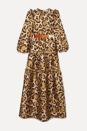 Christy tiered velvet-trimmed leopard-jacquard gown