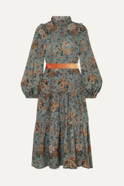 Anna Mason Clara tiered velvet-trimmed floral-print wool midi dress