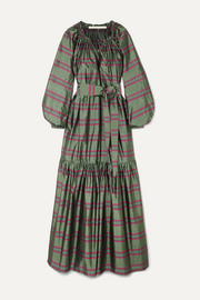Anna Mason Bardot belted striped silk-taffeta maxi dress