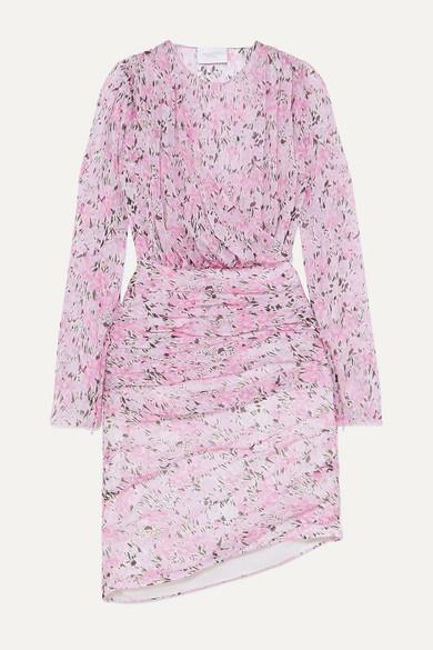 ruched-floral-print-silk-chiffon-mini-dress by giambattista-valli