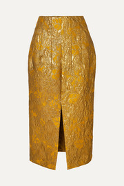 Brock Collection Metallic brocade midi skirt