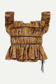 Grosgrain-trimmed gathered brocade bustier top
