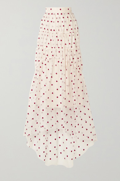 Embroidered Tiered Silk Blend Organza Maxi Skirt by Brock Collection
