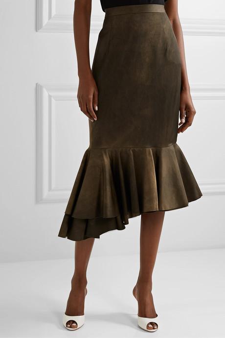 Asymmetric pleated matte-satin skirt
