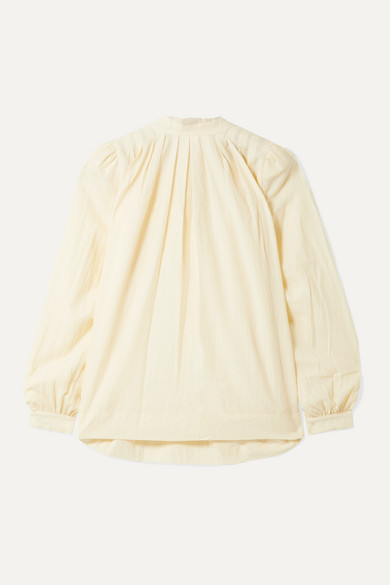 Hatch The Athena Pleated Cotton And Wool-Blend Voile Blouse In Ivory