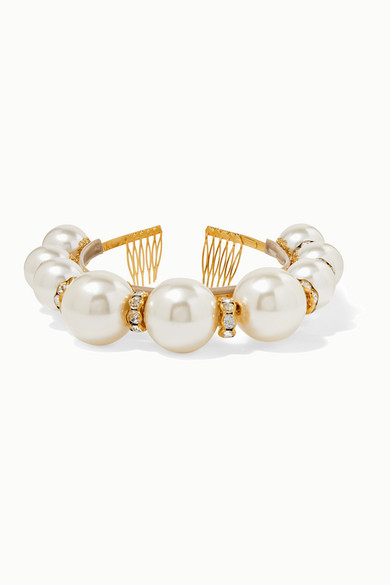 Dolce & Gabbana Faux Pearl And Crystal-Embellished Headband In White