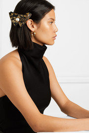 Faux pearl-embellished brocade hair clip