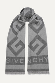 Frayed wool and cashmere-blend jacquard scarf