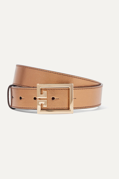 Metallic Textured Leather Belt by Givenchy