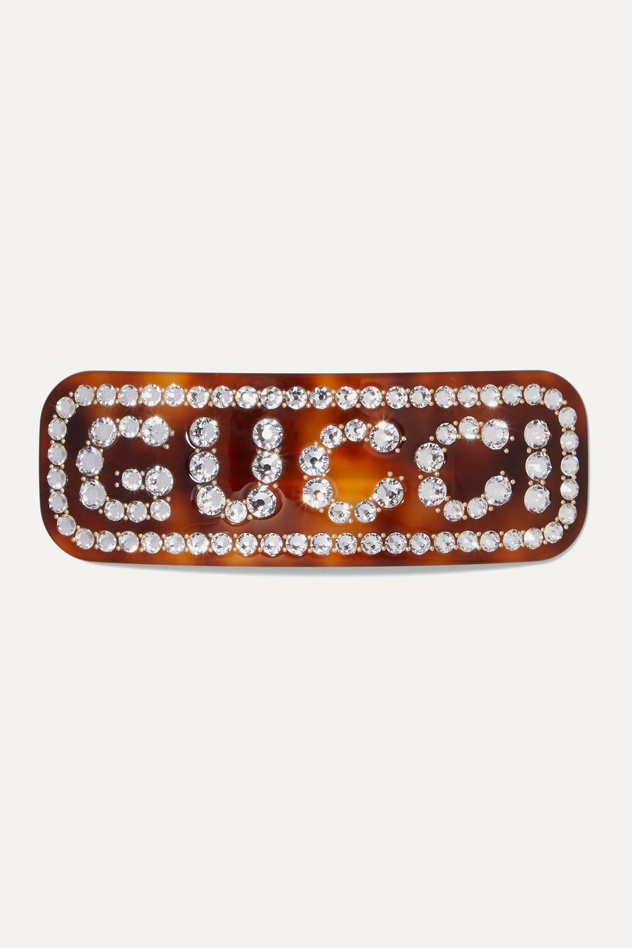 Gucci Crystal-embellished tortoiseshell resin hair clip