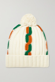 Pompom-embellished striped cable-knit wool beanie