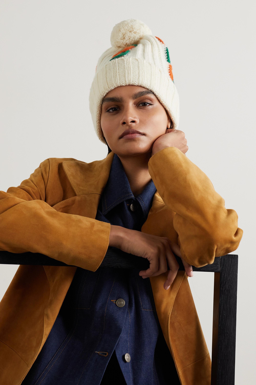 Gucci Beanie aus Wolle in Zopfstrick mit Pompon