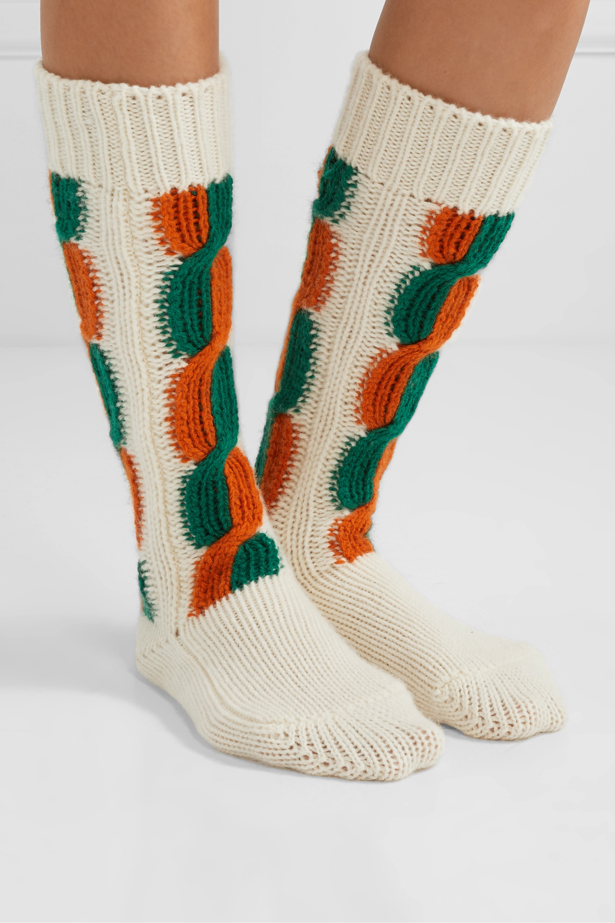 Gucci Striped cable-knit wool socks