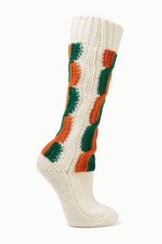 Striped cable-knit wool socks