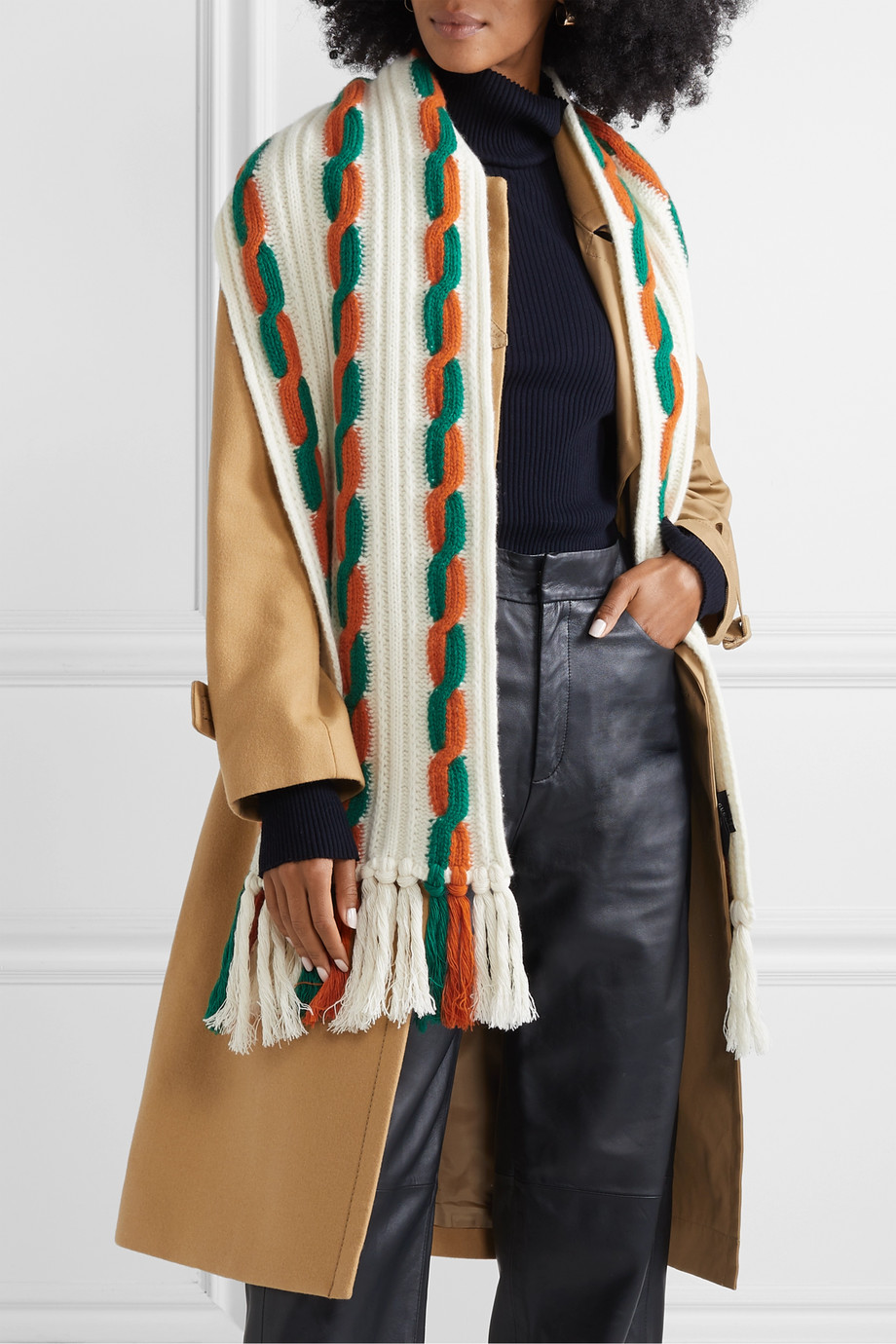 Gucci Fringed cable-knit wool scarf