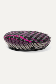 Billy vinyl-trimmed houndstooth tweed beret