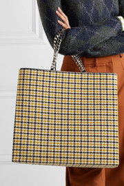 Houndstooth wool-blend tote