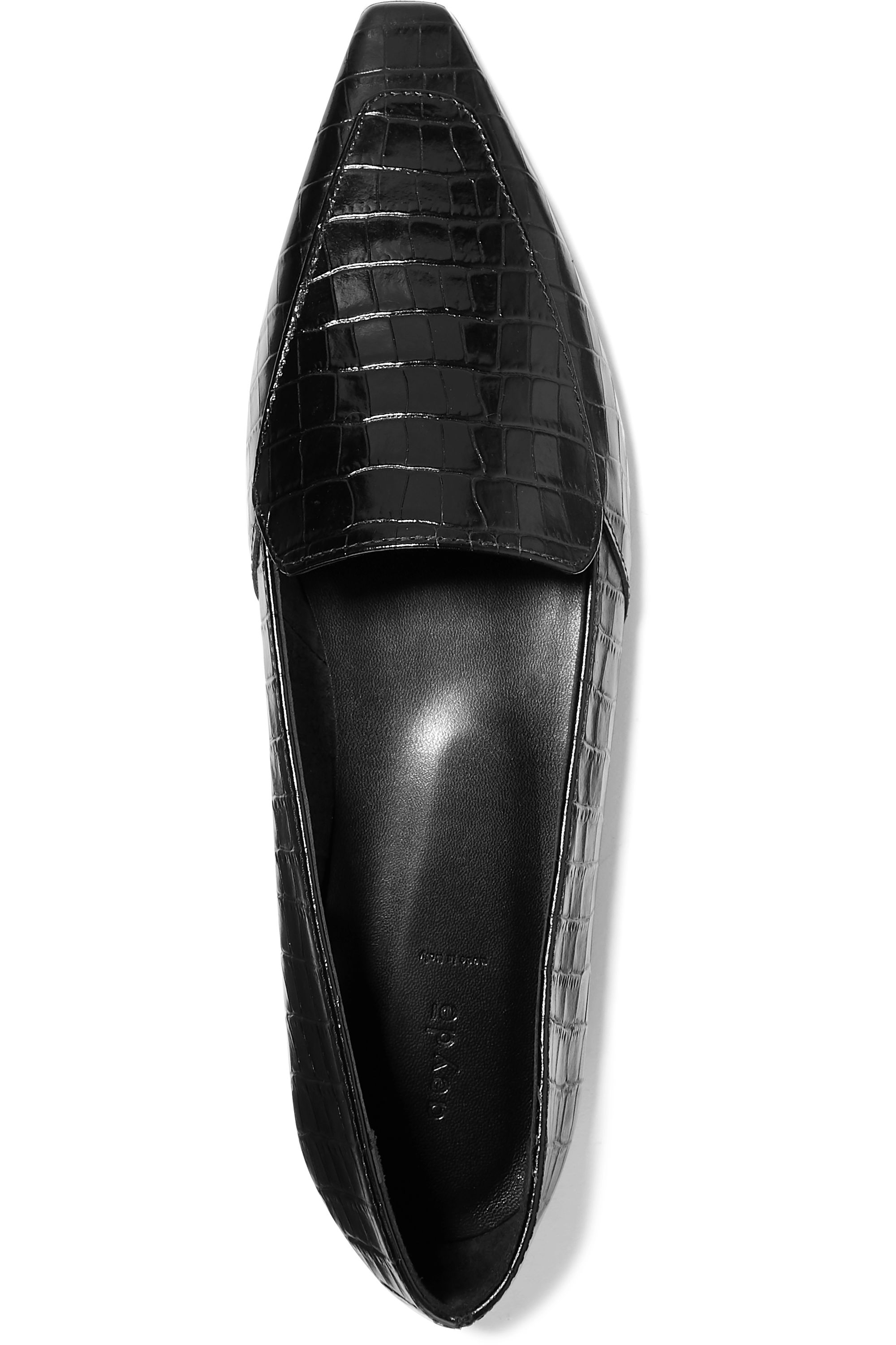 aeydē Aurora glossed croc-effect leather loafers