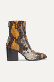 Lidia snake-effect leather ankle boots