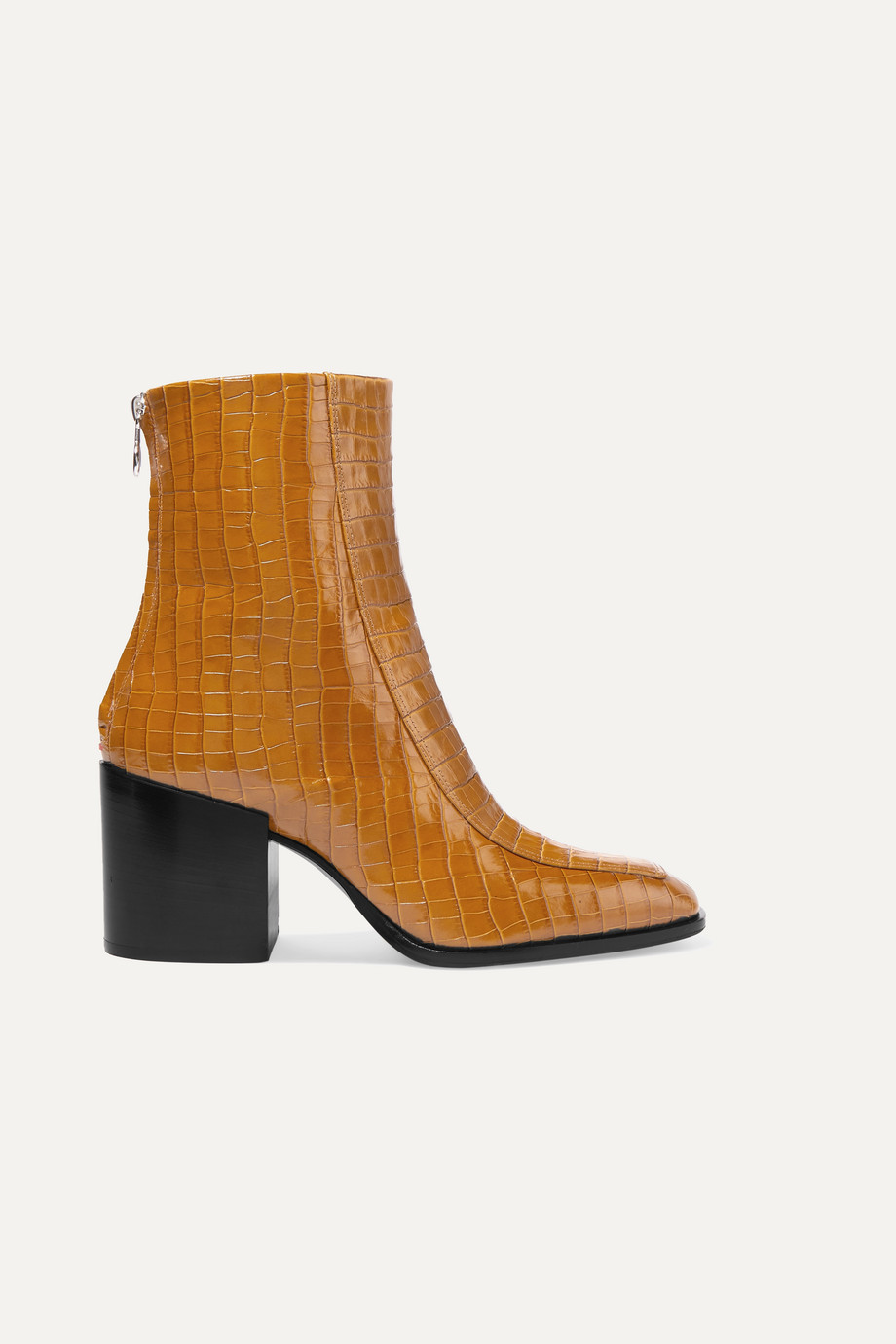 aeyde Lidia glossed croc-effect leather ankle boots