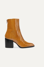 Lidia glossed croc-effect leather ankle boots