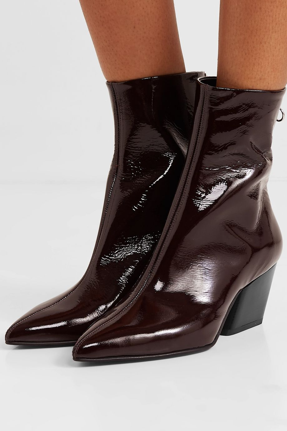 aeydē Dahlia crinkled patent-leather ankle boots