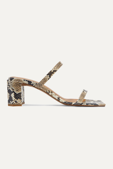 By Far Mules Tanya snake-effect leather mules