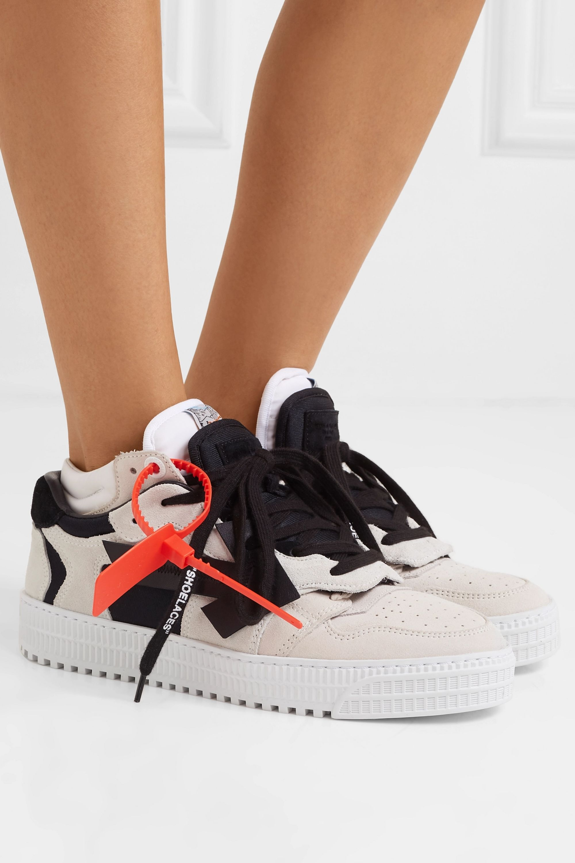 Off-white Suede and leather low-top