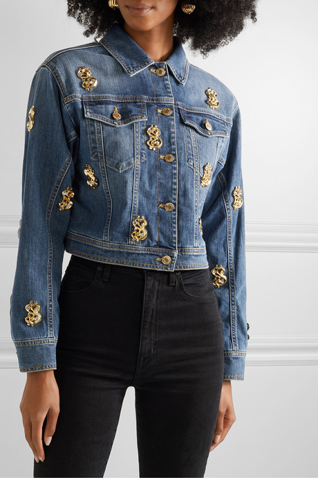 Cropped embellished denim jacket