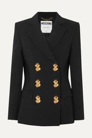 Moschino Double-breasted embellished crepe blazer