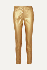Moschino Metallic coated mid-rise skinny jeans