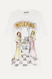 Moschino Oversized embellished printed cotton-jersey T-shirt