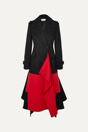Alexander McQueen Asymmetric double-breasted two-tone wool and cashmere-blend coat
