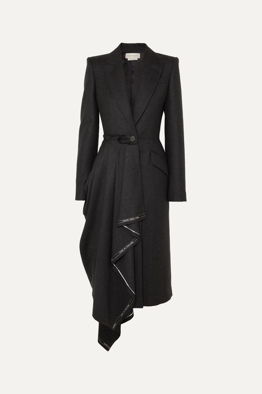 Asymmetric frayed wool-flannel coat