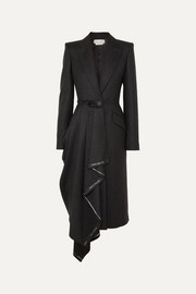 Asymmetric frayed wool-flannel coat