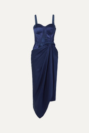 Draped lace and jacquard-trimmed silk-satin bustier dress