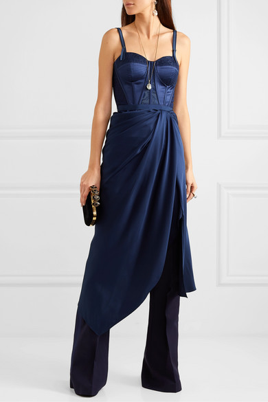 Alexander Mcqueen Dresses Draped lace and jacquard-trimmed silk-satin bustier dress