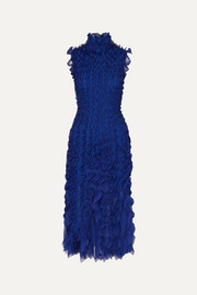 Alexander McQueen Ruffled lace and silk-trimmed knitted midi dress