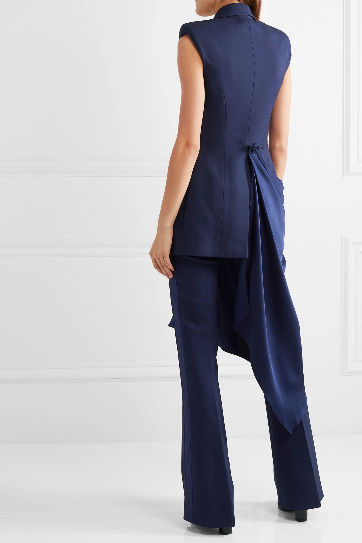 Alexander McQueen Asymmetric draped satin and grain de poudre wool-blend vest