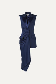 Asymmetric draped satin and grain de poudre wool-blend vest