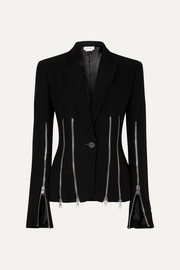 Zip-detailed wool-blend crepe blazer