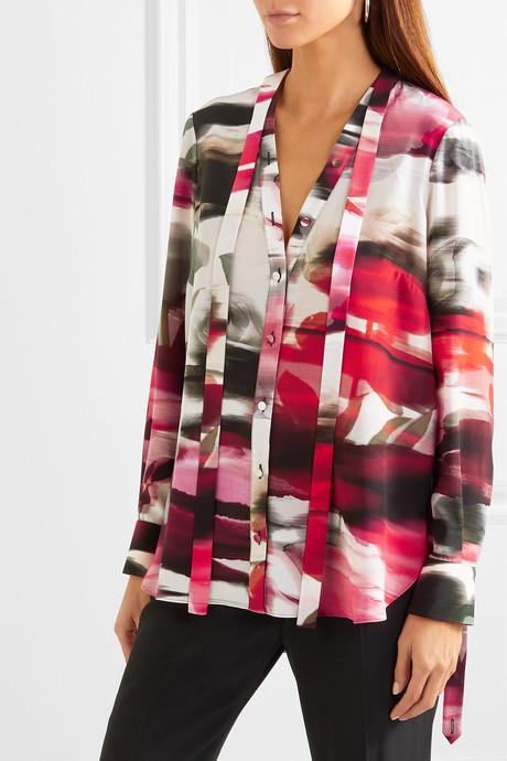 Pussy-bow floral-print silk crepe de chine blouse