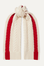 Striped cable-knit cashmere scarf