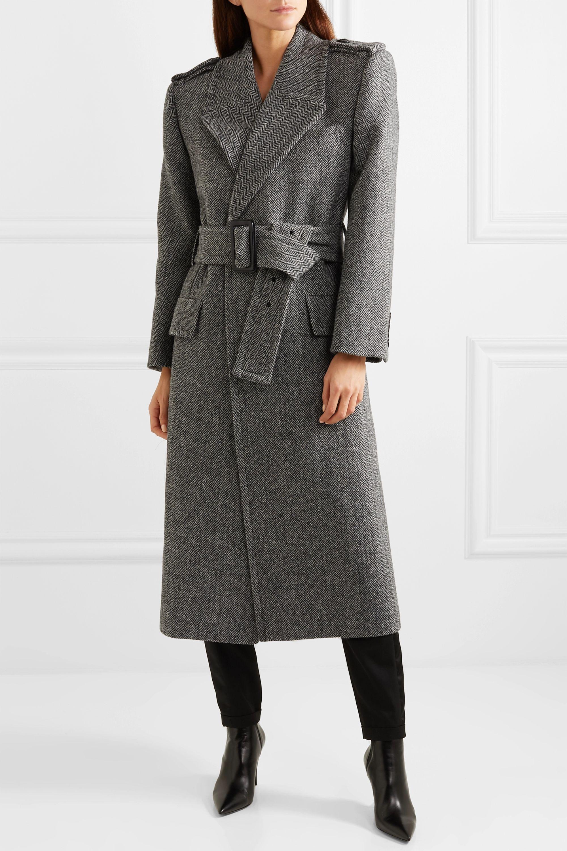 SAINT LAURENT Belted herringbone wool coat