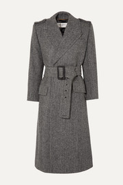 SAINT LAURENT Belted herringbone wool coat