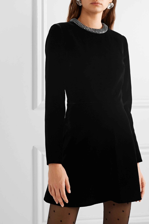 SAINT LAURENT Verziertes Minikleid aus Samt mit Cut-out