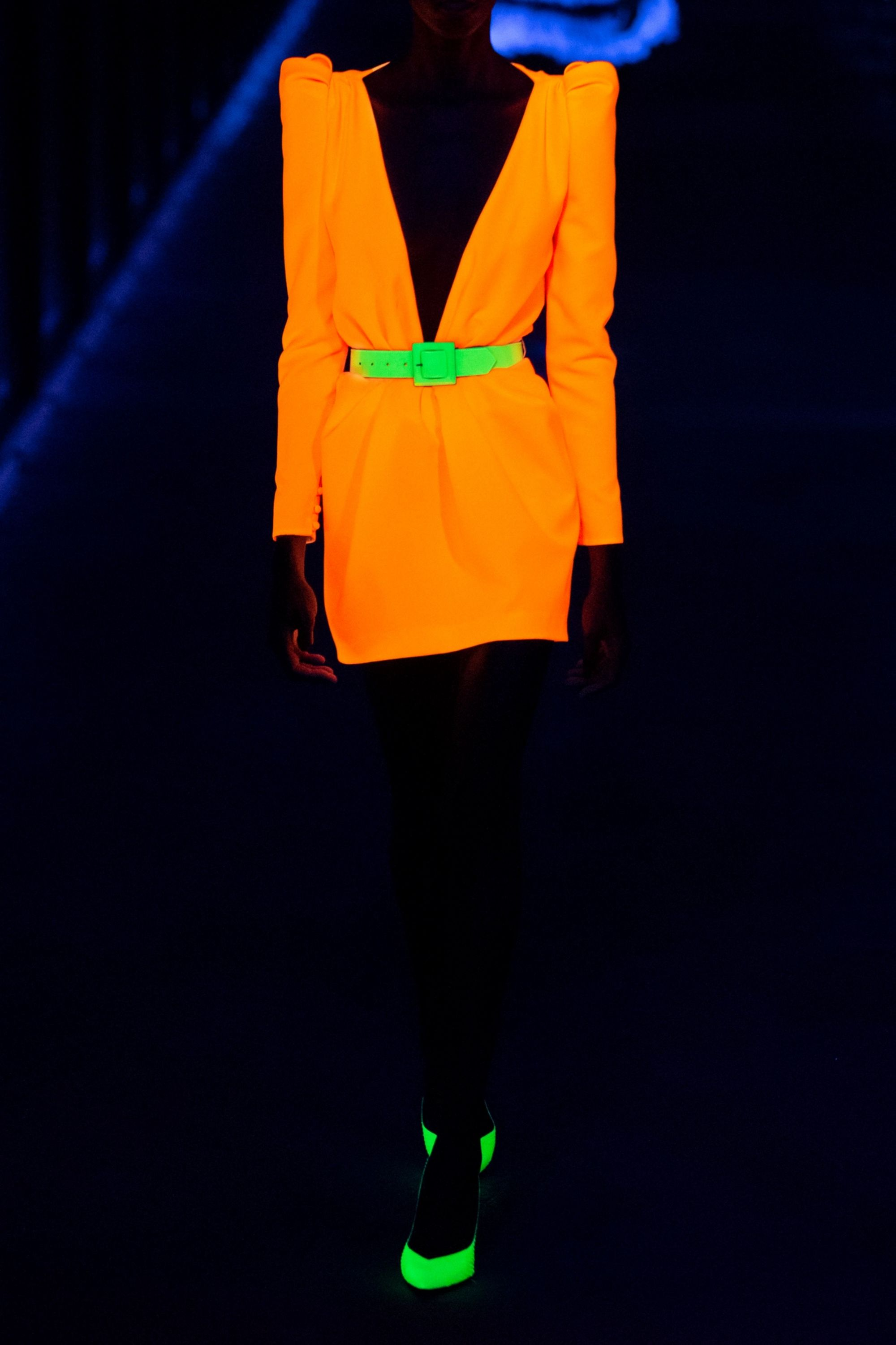 SAINT LAURENT Gathered neon twill mini dress