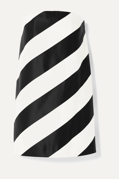 Saint Laurent Dresses Strapless striped silk and wool-blend mini dress