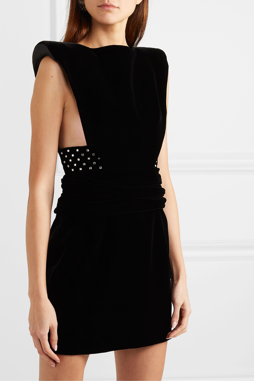 SAINT LAURENT Crystal-embellished velvet mini dress